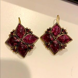 Beautiful deep purple amulet flower earrings